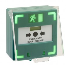 STPCP3-LSRC -Triple pole surface green resettable break glass unit with LED, sounder and protective cover